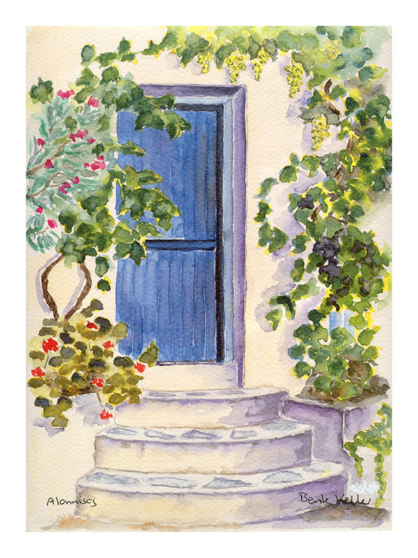 Vine and flowers surrounding a doorway